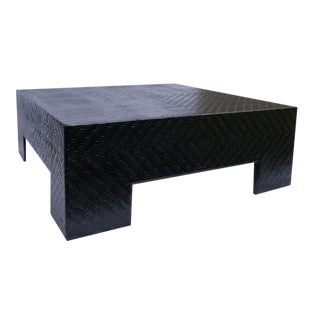 Woven Cane Low Coffee Table in Black Gloss For Sale