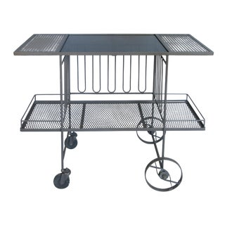 Wrought Iron & Glass 1950's Bar Cart by Salterini For Sale