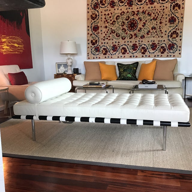 Vegan Leather Barcelona Style Daybed With Round Bolster Pillow For Sale - Image 12 of 12