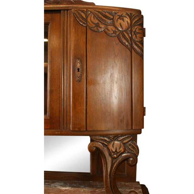1920 French Art Deco Carved Oak Buffet - Image 6 of 8