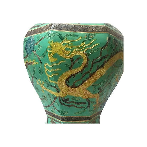 Asian Green Hand-Painted Dragon Porcelain Vase For Sale - Image 3 of 7