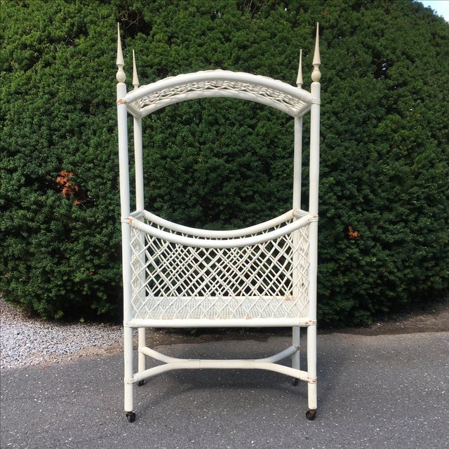 White Wicker Canopy Crib - Image 2 of 8