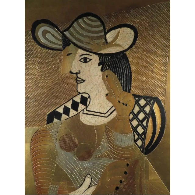 """K. Walton Cubist Woman Contemporary Gilded composite metal sculpture 6/100 30""""x40 Signed lower right"""