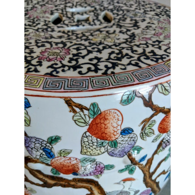 Ceramic 1980s Chinese Bird and Floral Detailed Enameled Porcelain Garden Stool For Sale - Image 7 of 12