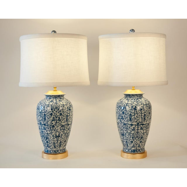 Contemporary Porcelain With Wooden Base Gold-Plated Task Table Lamps - a Pair For Sale - Image 3 of 11