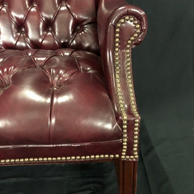 English British Chesterfield Burgundy Leather Bench Loveseat For Sale - Image 3 of 10