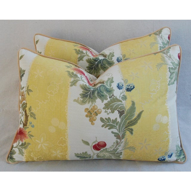 Designer Scalamandre Silk Lampas Pillows - Pair - Image 2 of 10
