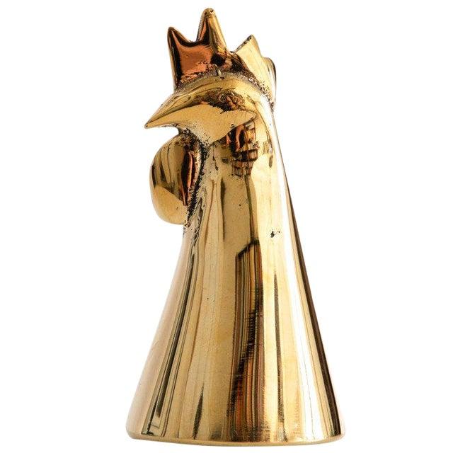 Mid-Century Modern Carl Auböck Model #4072/G 'Rooster' Brass Bell For Sale