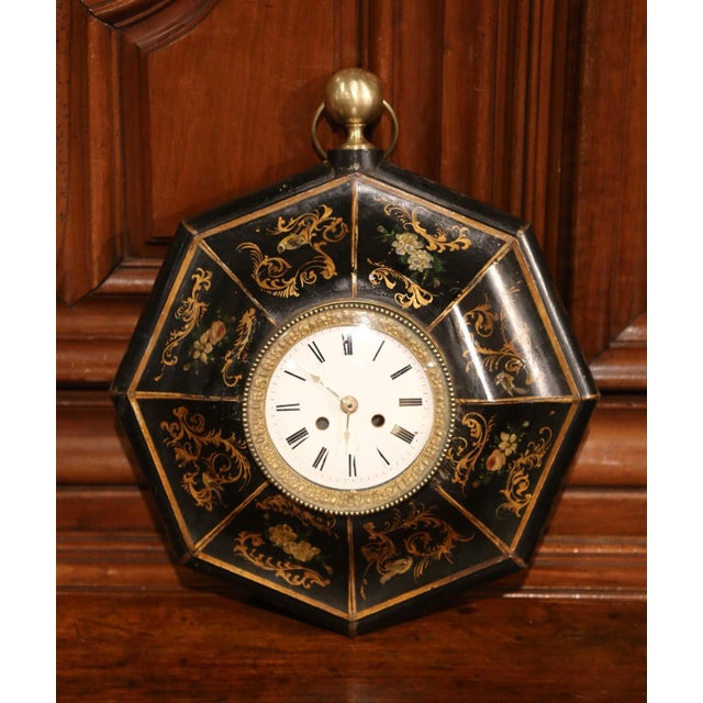 Late 19th Century 19th Century, French Napoleon III Black and Gilt Painted Tole Wall Clock For Sale - Image 5 of 10