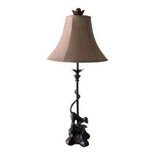 1980s Vintage Bronze Monkey Lamp For Sale