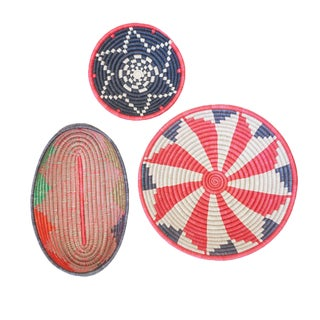 Handwoven Rwandan Multicolor Sweetgrass Coil Baskets Trio - Set of 3