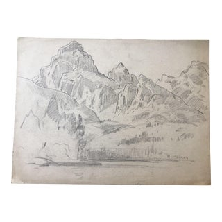 1930s Vintage Eliot Clark Western US Plein Air Drawing For Sale