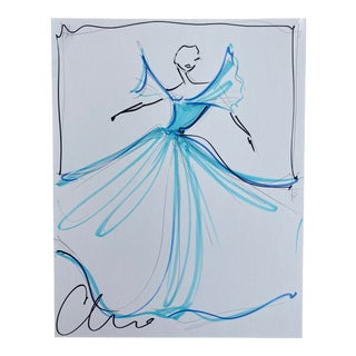 """""""Icy Blue Flutter Sleeve Gown"""" Original Christian Siriano Sketch For Sale"""