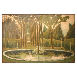 "Life Size Original 3-D ""Garden of Versailles"" 8' X 12' Two-Panel Wall Mural For Sale"