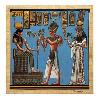 Egyptian Goddess Painting on Papyrus For Sale