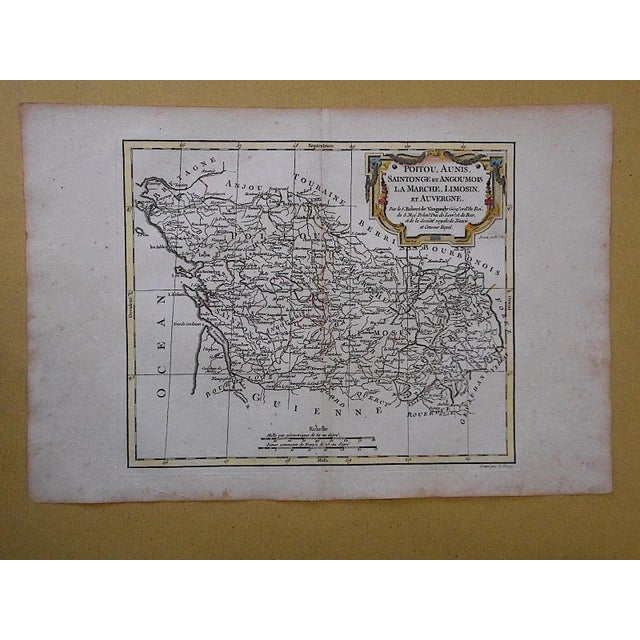 This authentic 18th century map by Robert de Vaugondy depicting the identified areas. It is a hand colored copperplate...