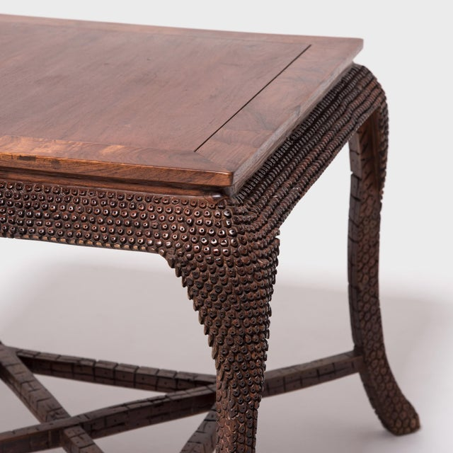 Wood Early 20th Century Dragon Scale Tea Table and Stools For Sale - Image 7 of 11