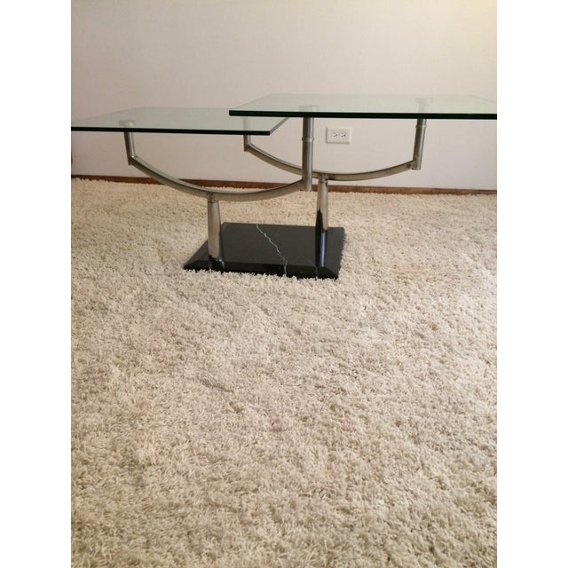 Modern Glass, Chrome & Marble Base Swivel Coffee Table - Image 3 of 11