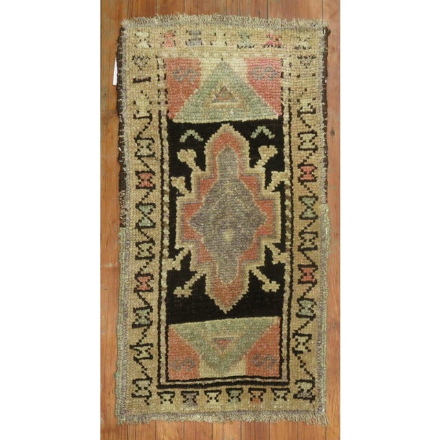 Mini Brown Soft Pink Vintage Turkish Rug For Sale - Image 4 of 4