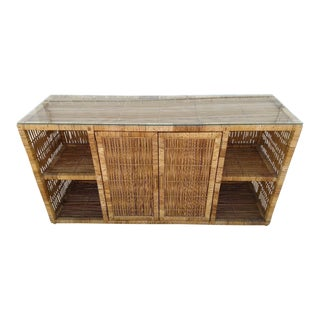 Vintage Rattan Woven Console With Glass Top For Sale