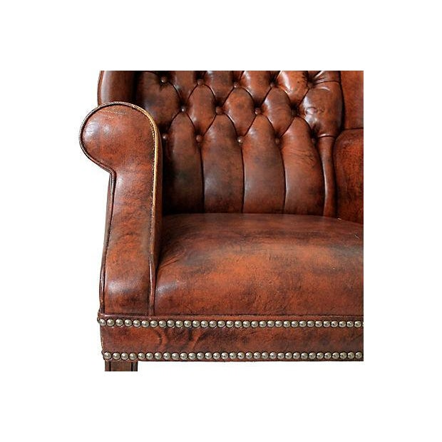 Tufted Leather Wingback Chairs - A Pair - Image 9 of 10