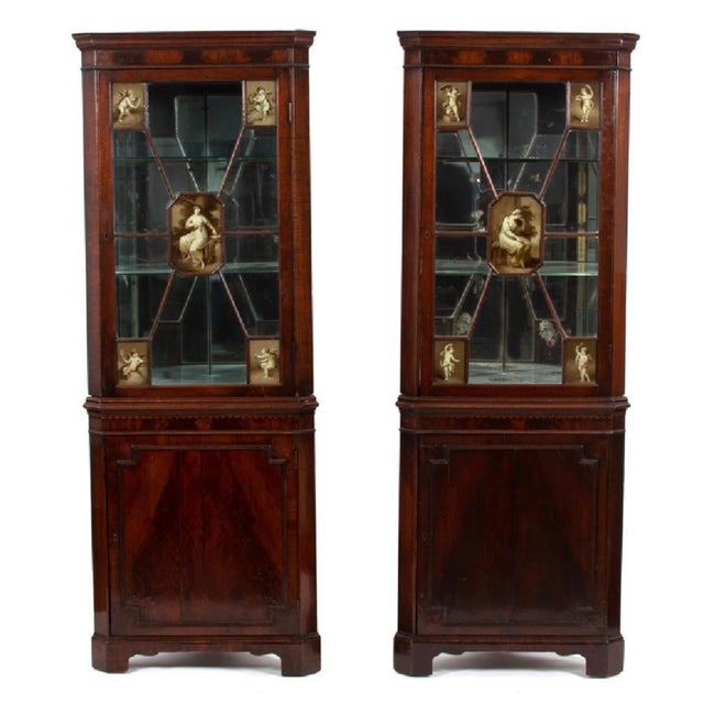 Pair of 19th-C. English Regency Corner Cabinets For Sale - Image 10 of 11