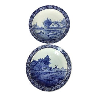 Boch Belgium Delfts Royal Sphinx Hand Painted Serving Wall Plates - a Pair For Sale