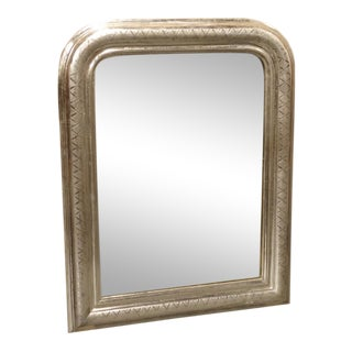 Small Antique French Louis Philippe Silver Leaf Mirror For Sale