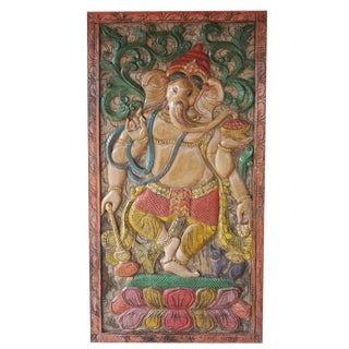 Vintage Indian Hand Carved Ganesha Barndoor Door Colorful Wall Panel Relief For Sale