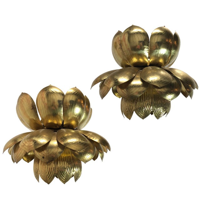 Pair of Brass Lotus Pendants For Sale - Image 12 of 12