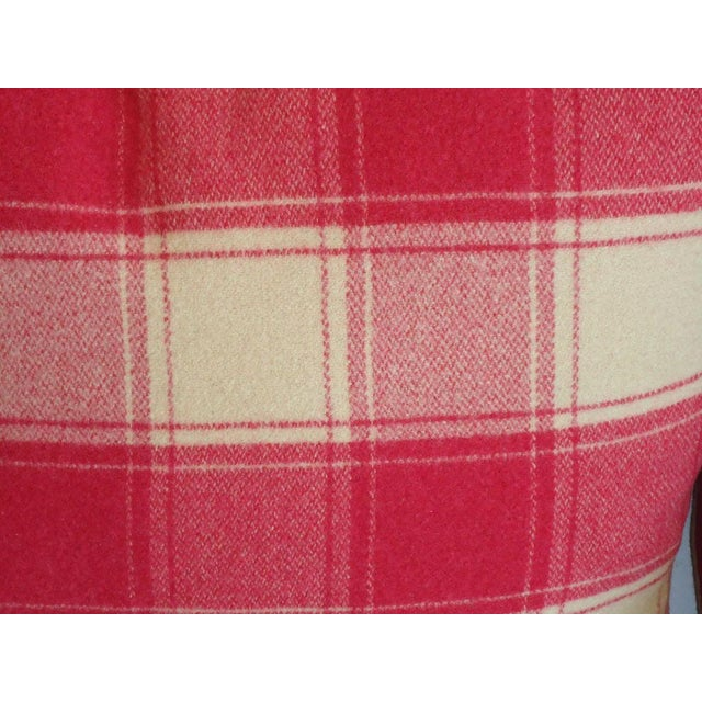 Raspberry and Cream Wool Pendleton Blanket Pillows For Sale - Image 4 of 4