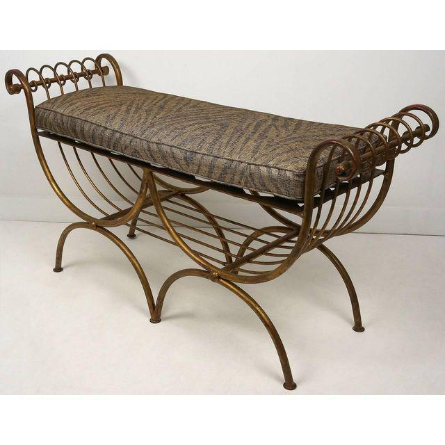 Hollywood Regency Style Gold Gilt Metal Tiger Pattern Fabric Cushion Bench - Image 2 of 10