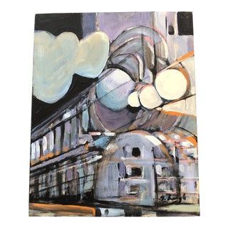"Original Stephen Heigh Contemporary Painting ""Bullet Train Ny Central"" For Sale"