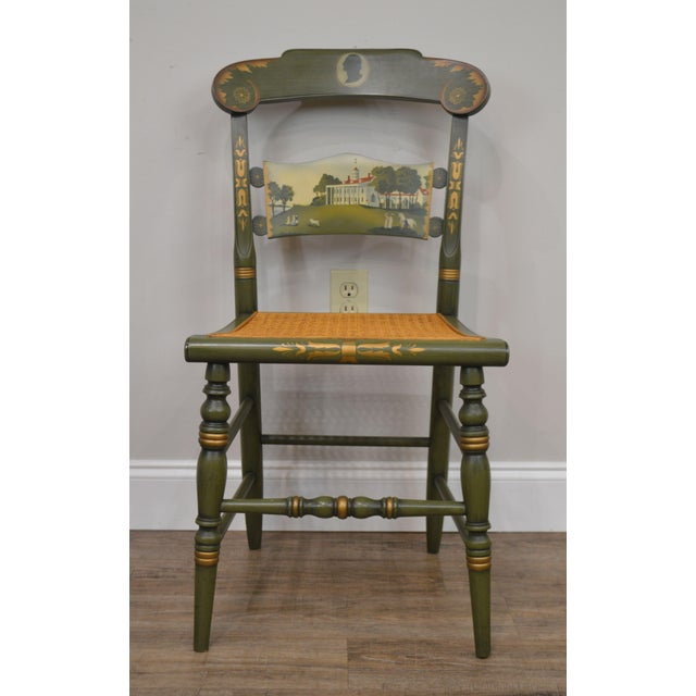 Hitchcock Green Painted George Washington Mt Vernon Cane Seat Side Chair For Sale - Image 12 of 13