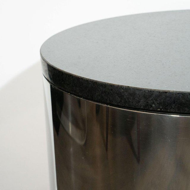 Silver Mid-Century Modern Cylindrical Drum Form Chrome and Granite Occasional Table For Sale - Image 8 of 9
