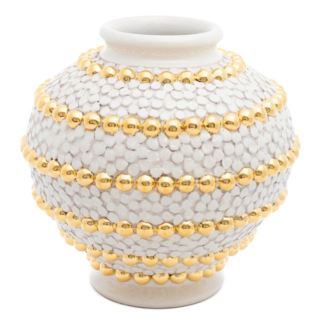 Modern Cream Ortensia And Buttons Vase With 24 Karat Gold Details, ND Dolfi For Sale - Image 3 of 10