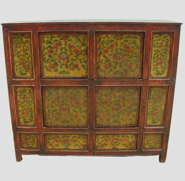 Superieur Hand Painted Tibetan Cabinet   Image 2 Of 6