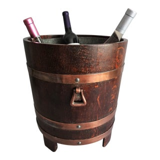 Early Oak & Copper Wine Cooler / Jardiniere