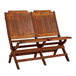 Slatted Tandem Folding Chairs W/ Weathered Finish Circa 1930