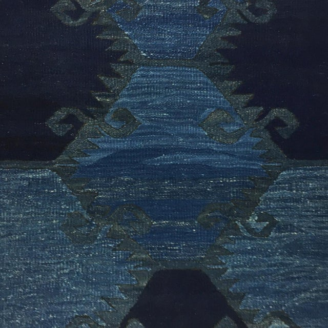 Rug & Relic, Inc. Rug & Relic Indigo-Dyed Yeni Kilim Runner | 2'7 X 9'9 For Sale - Image 4 of 6