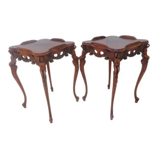 Mahogany Cherub Carved Side Tables - a Pair
