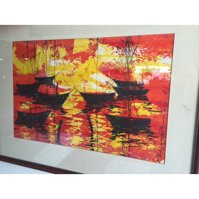 Mid-Century Modern Signed Water Color Painting - Image 3 of 11