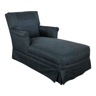 Traditional Chaise Lounge With Navy Blue Cotton Moire Fabric and Rolled Arms For Sale
