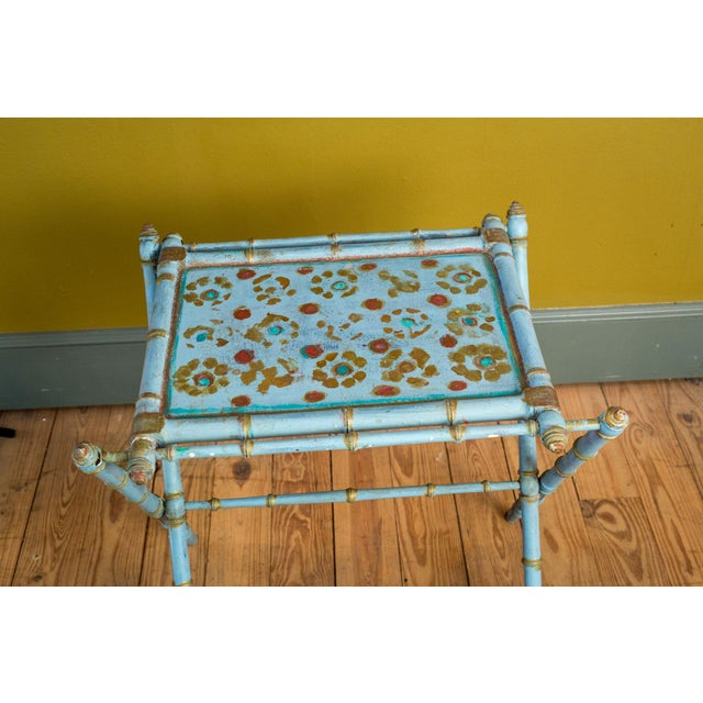 Country Antique Painted Tray Table For Sale - Image 3 of 13