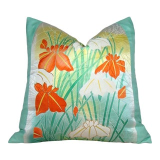Japanese Iris Silk Kimono Pillow Cover For Sale