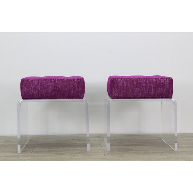 Contemporary Pair of Waterfall Acrylic & Chenille Benches For Sale - Image 3 of 6