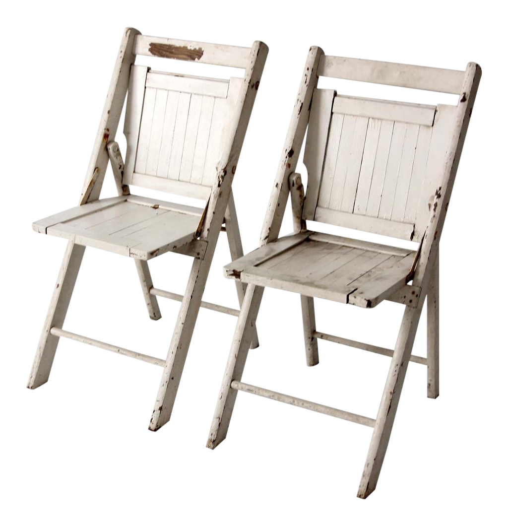 Vintage White Wooden Folding Chairs A Pair