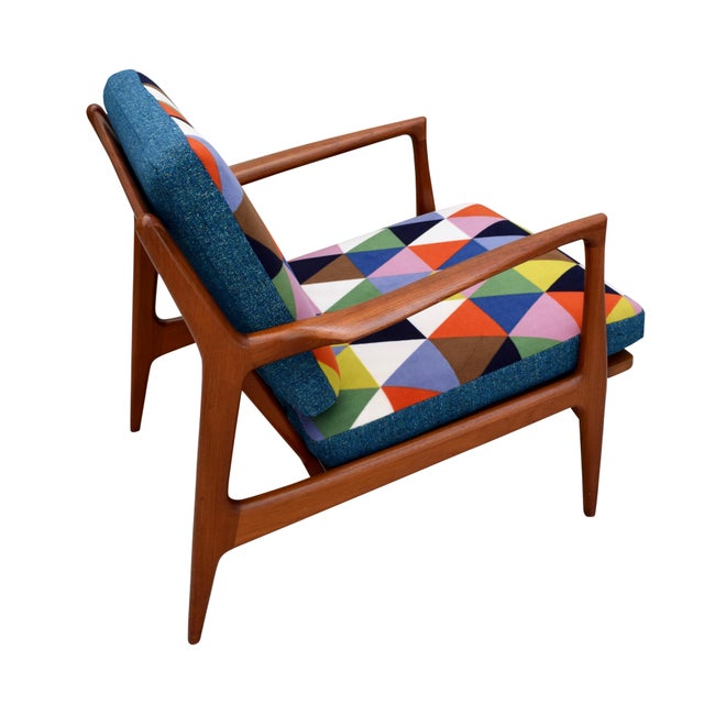 Blue Vintage Danish Mid-Century Teak Lounge Chair For Sale - Image 8 of 10