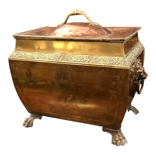 Antique Copper & Brass Regency Period Coal Skuttle Bin For Sale