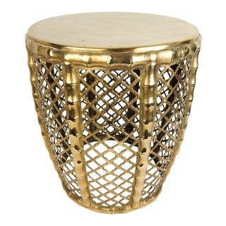1960s Reticulated Brass Bamboo Stool For Sale